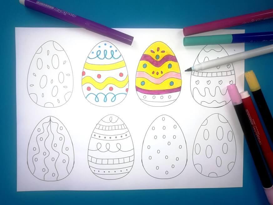 nyomtatható húsvéti tojás színező